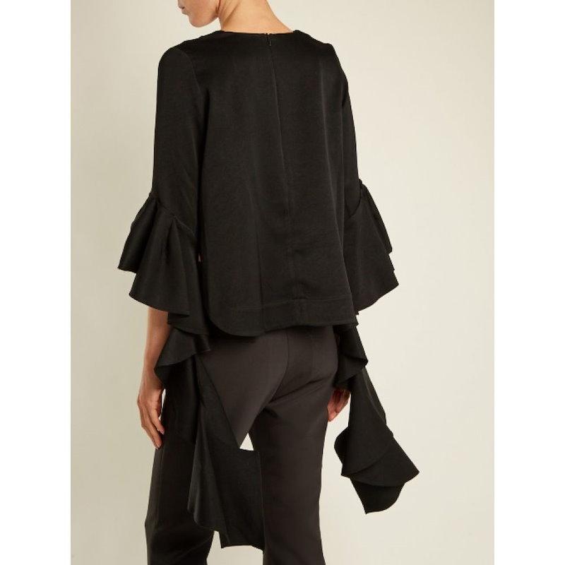 エラリー レディース トップス ブラウス・シャツ【Reverberation V-neck cady blouse】Black