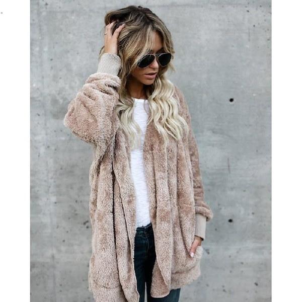 冬の女性暖かいロングファーコートポケットウィンタープラッシュジャケット