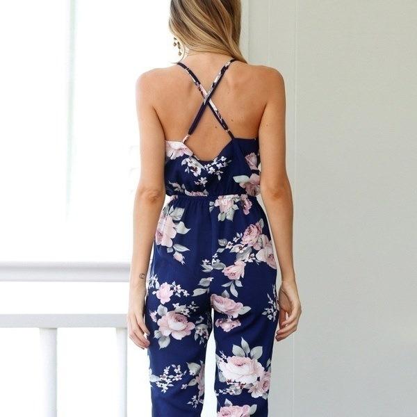 女性の夏のビーチBoho花の印刷物のオーバーオール背部のないセクシーなボディスーツの女性のジャンプスーツRomperクラブブルー