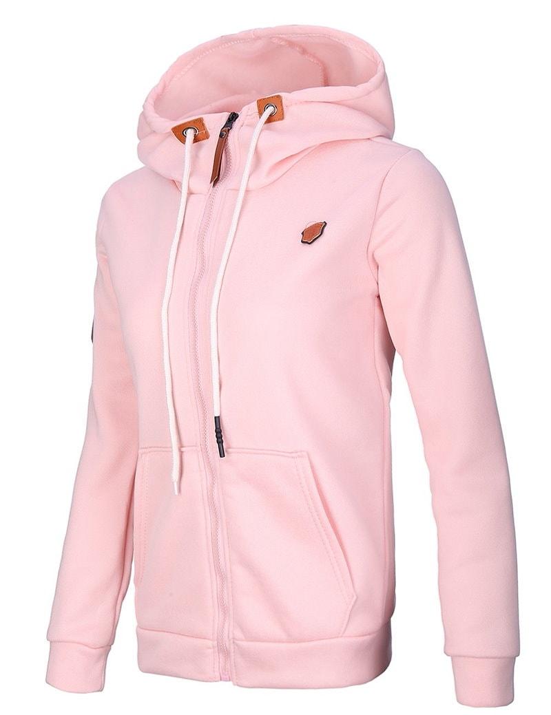 2017新しいジッパー女性の厚い暖かいスエットシャツソリッドカラープルオーバーパーカーコットンスウェットジャケット