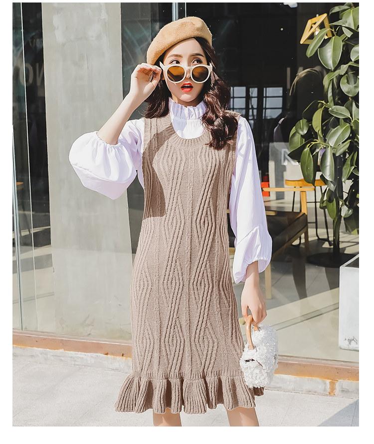女春と秋女ニットワンピース ノースリー  フリル裾 +  長袖Tシャツ ブラック