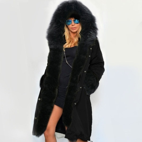 Luxury Women Faux Fur Coat Casual Hooded Long Sleeve Parka Ladies Long Trench Jacket Outwear 3S