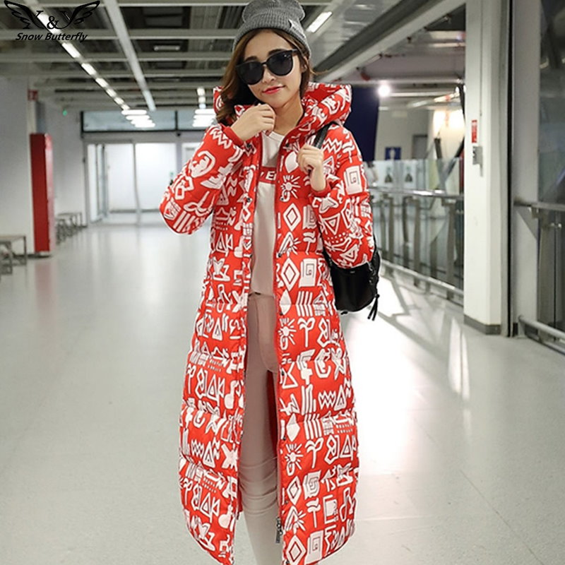 2016高品質の冬エクストラロングダウン綿のジャケットの女性の厚みのコート女性の上着カジュアルファッションの印刷コート