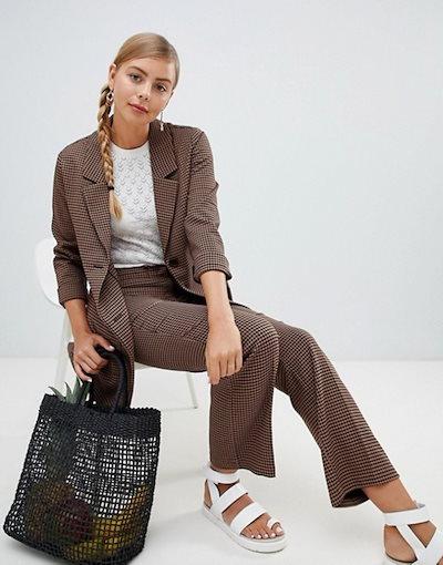 モンキ レディース ジャケット・ブルゾン アウター Monki longline blazer in brown check print