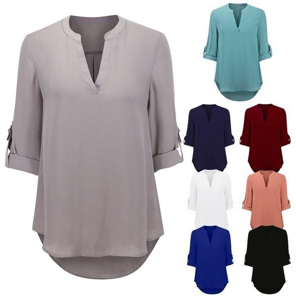 蜂蜜女性のVネックセクシーな女性のTシャツトップレジャーシャツ