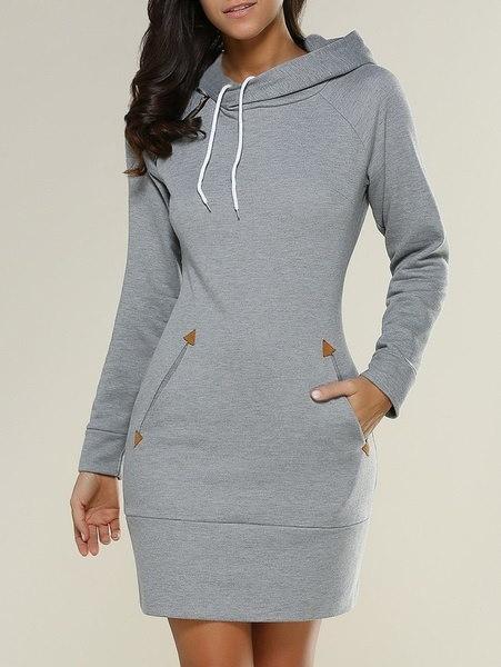 レディースファッションウォームロングスリーブパーカードレス