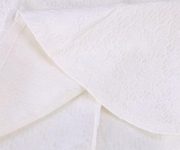 トレンディなファッションの花のラウンドネックノースリーブバックレスレーススパゲッティストラップホワイトタンクトップ(サイズ:M)