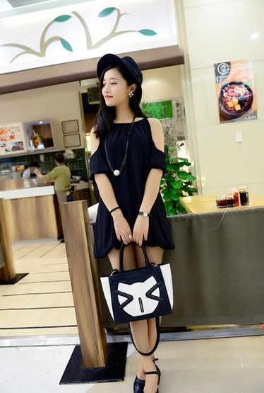 ◆即納◆ヨーロッパで大人気!大容量・ネコちゃんプリント・ショルダーバッグ 2種/*
