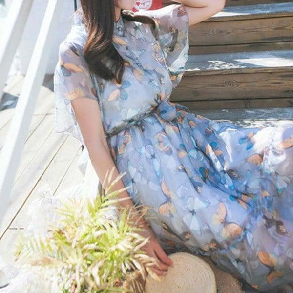 リゾート風 ワンピース シースル ワンピース シフォン ワンピース 花柄 シフォンワンピース  フレアワンピース フェミニン ワンピース レデ