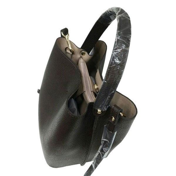 柔らか素材のダブルポケット2wayトート〔Lサイズ〕 ダークグレイ