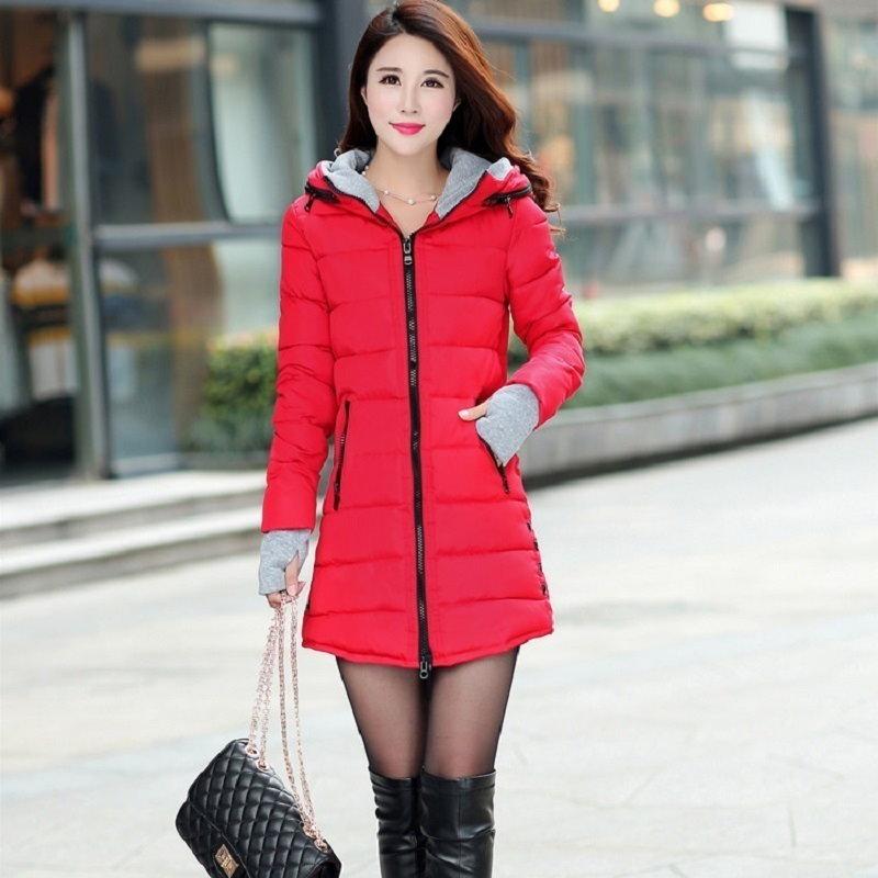 Kuyomens女性のフード付きの綿が詰めジャケット冬のミディアム・ロングコットンコートプラスサイズダウンジャケット女性スリムレディースジャケット
