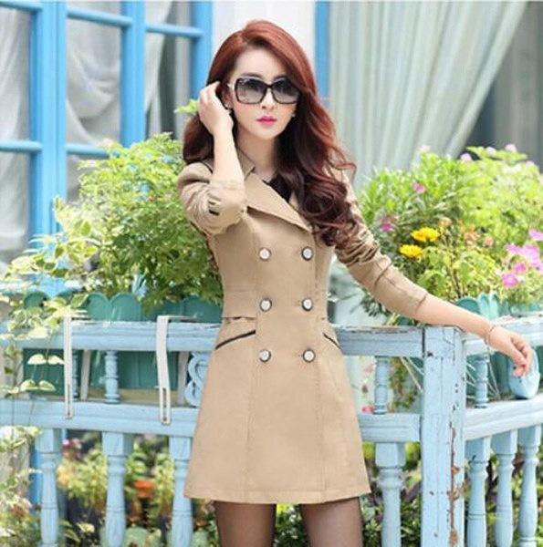 女性のための春の秋のトレンチコートファッションターンダウンカラーダブルブレストキャンディカラーロングコート