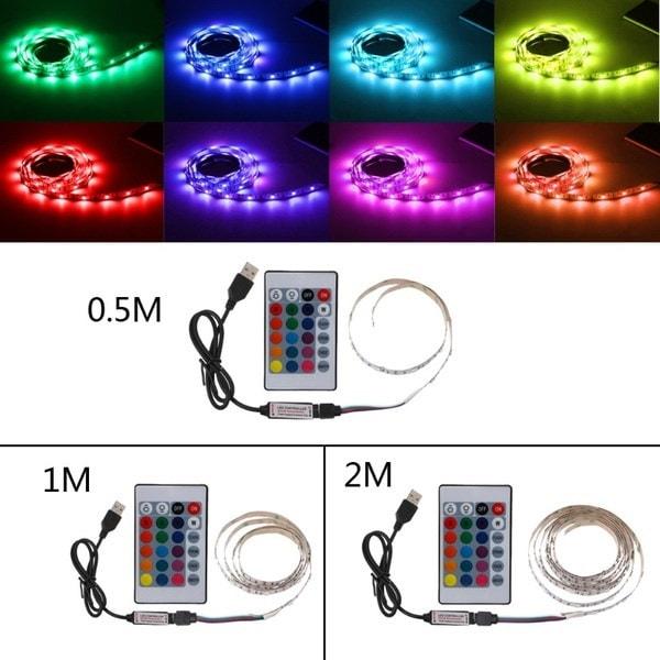 DC 5V USB 30 LED / m 5050 RGB非防水フレキシブルLEDストリップライトTVバックライト+ 24キーリモートW