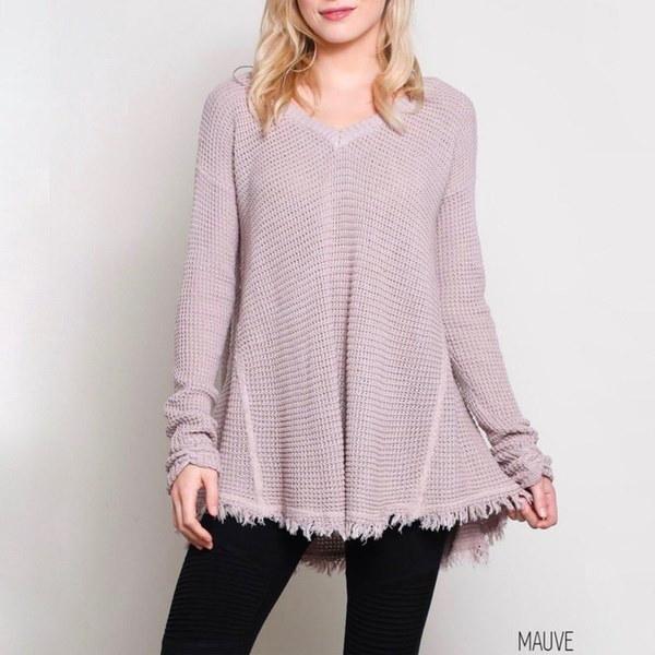 女性のファッションプラスサイズカジュアルVネック長袖TasslesソリッドカラーセーターのトップスZH5980