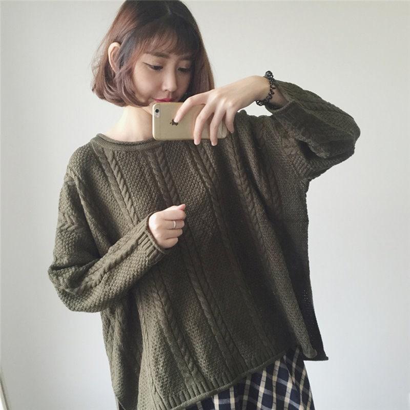 秋冬ファッション上品ゆるニット セーター ニットトップス・ラバー袖・ゆったりシルエット体型カバー 着やせ