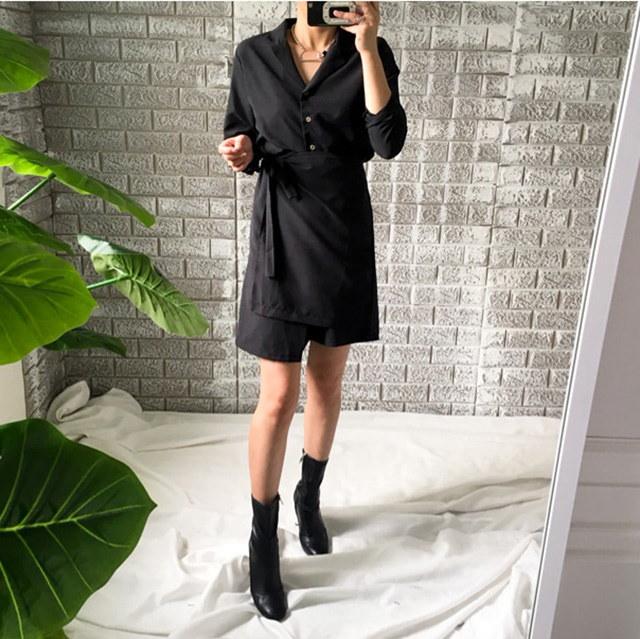 秋のガールフレンドルックシャツ型ラップワンピースR3075デイリールックkorea women fashion style