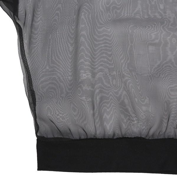ファッションレディース長袖メッシュシースルークロップドトップスカジュアルティーシャツブラウス