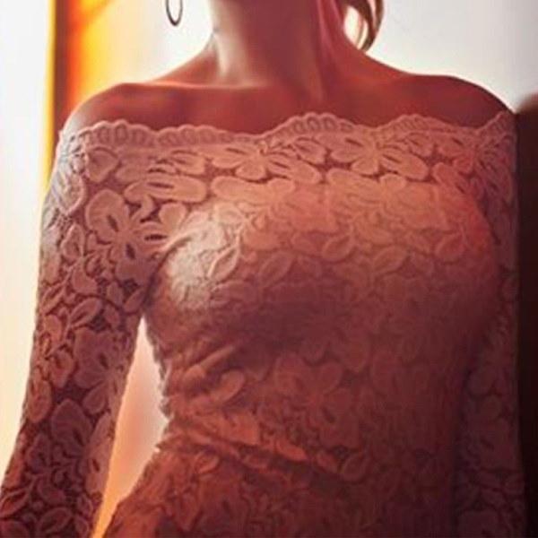 ホットセクシーな女性のブラウスオフショルダーレースのかぎ針編みのシャツロングスリーブスリムカジュアルトップス(サイズ:アジアサイズ