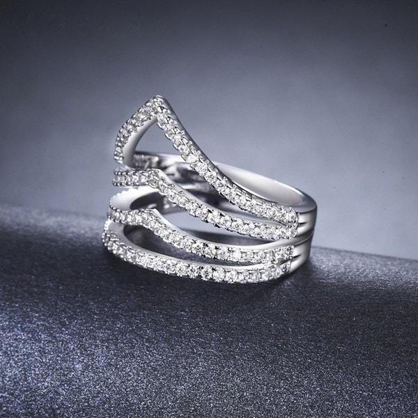 女性のためのMDEANホワイトゴールドメッキリングファッションCZダイヤモンドジュエリーバグ女性の英国のための結婚指輪