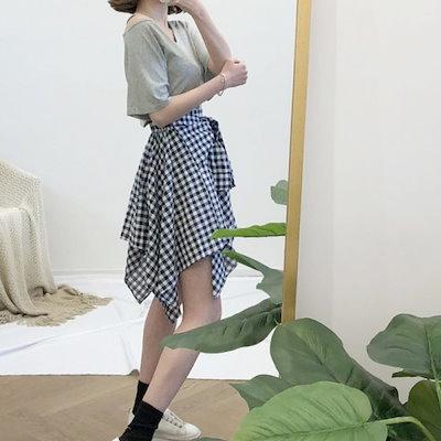 韓国ファッション 春 韓国 ギンガムチェック柄ミニ丈スカート