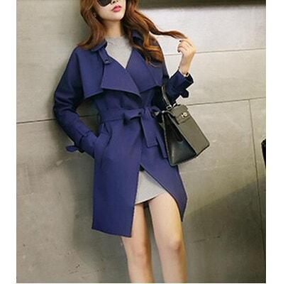 韓流レディース 上質テーラードジャケット コート 薄手トレンチコート 長袖 通勤ロング丈春服