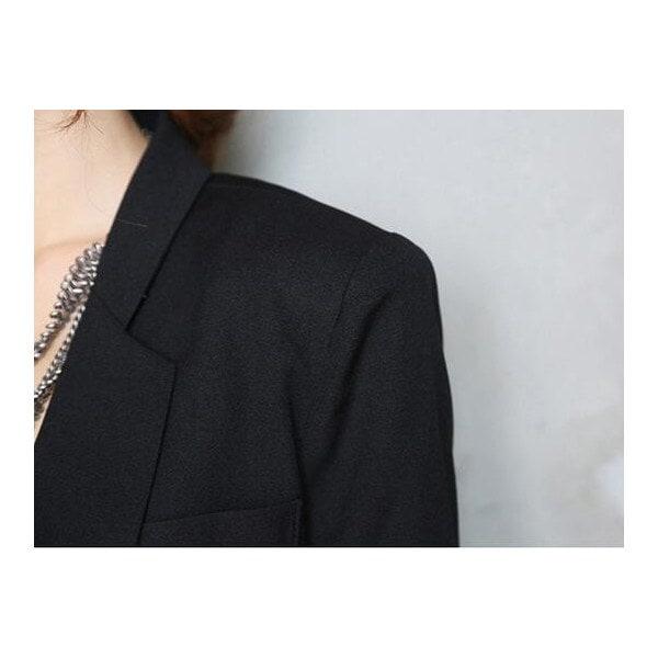 レディース ワンボタン ロング丈 長袖テーラードジャケット ブラック フォーマル 春アウター オフィスカジュアル エレガント 薄手スリム