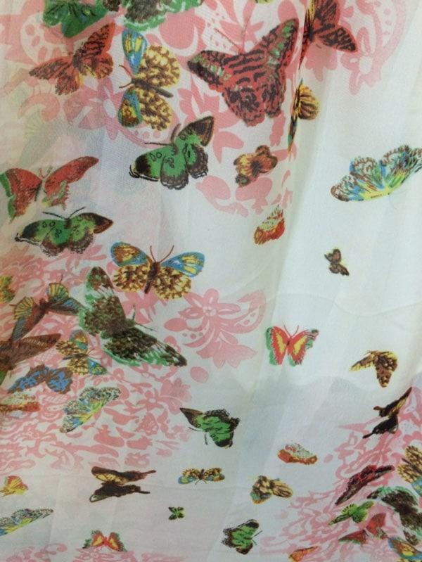 送料無料 全2色 蝶と花柄 レディース ロング丈 シフォン ワンピース フリーサイズ