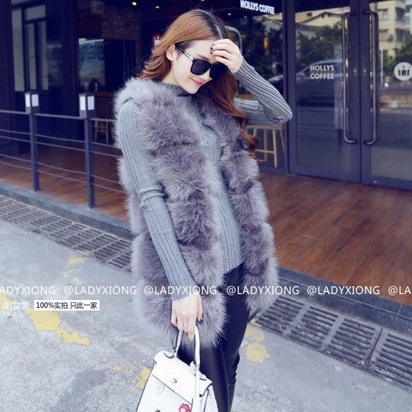 女性ファッションコートフェイクファー高品質コートパーカーベストアウトドアsc161024-144