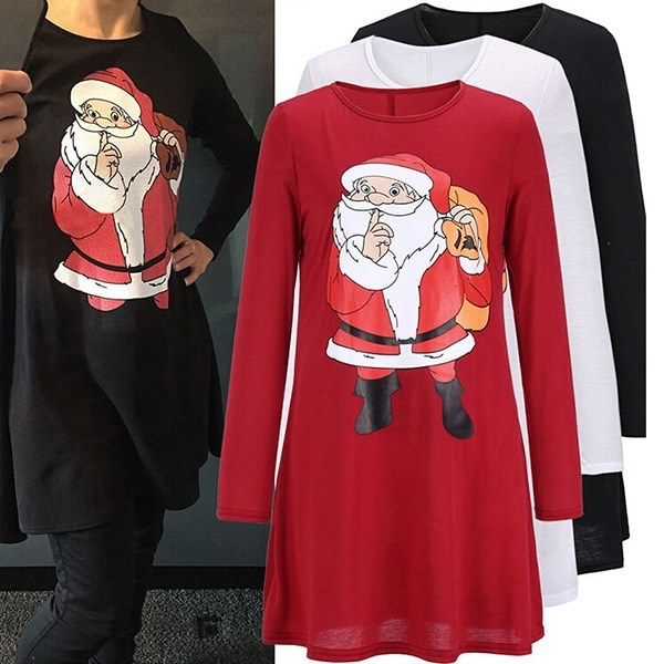 Fashion Women Cute Santa Claus Print Long Sleeve Stretch Christmas Mini Dress Casual Xmas Short Sant