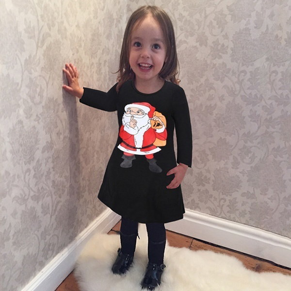 Fashion Women Cute Santa Claus Print Long Sleeve Stretch Christmas Mini Dress Casual Xmas Short Sant