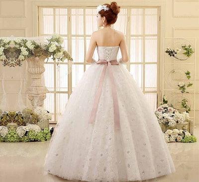 ウェディングドレス 花嫁 礼服 スイート 水晶 ベアトップ プリンセス レディース 妊婦もOK XCRF06