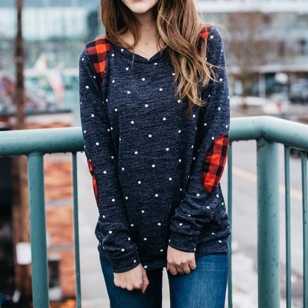 冬の女性の新しいファッションポルカドットスエードセーターカジュアル快適なスエットシャツトップス