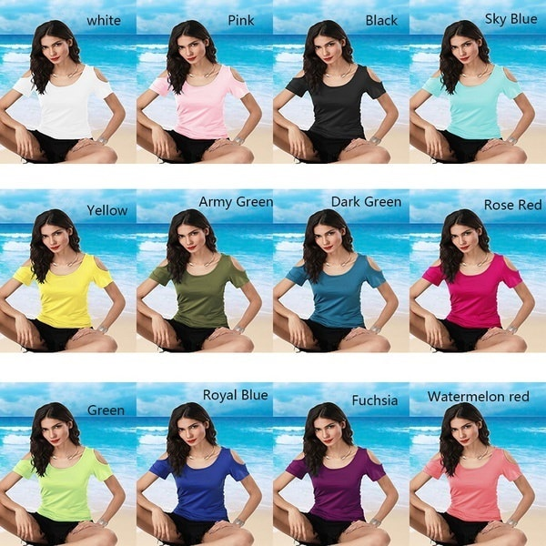 Women Casual Short Sleeve T-Shirt Off the Shoulder O-Neck Slim Solid Color Top Tees