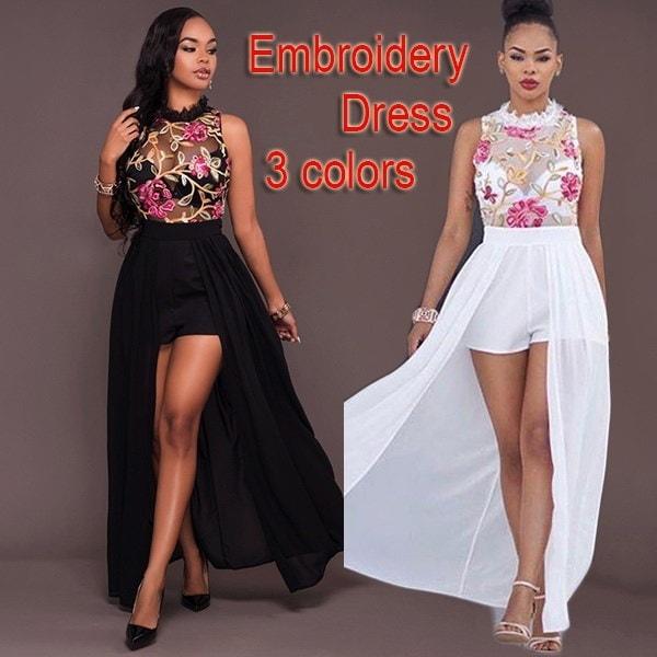 2017 New Women Fashion O Neck Off Shoulder Elegant Floral Embroidery Dress sexy long bohemian dress
