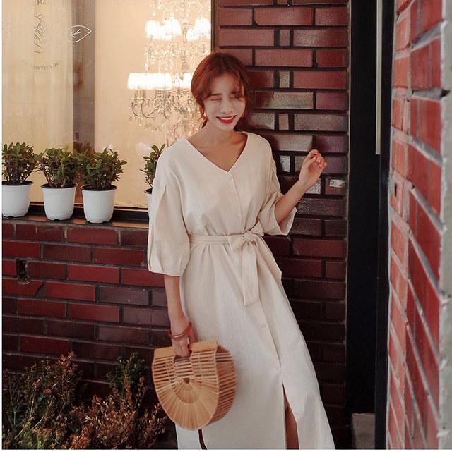 モダンなVネックリボンストラップ開運ボタンロングワンピースデイリールックkorea women fashion style