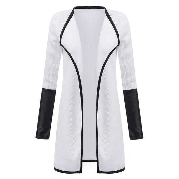 新しい春のファッション女性のレザーロングスリーブニットカーディガンコートシンコートジャケットブラックホワイトポンチ