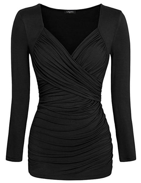 女性ファッションロングスリーブVネックピュアカラープリーツスリムカジュアルトップス(S  -  XXXXXL)WZC5834