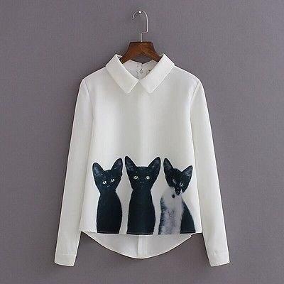 ファッション2015新ブランド女性のルーズシフォン3匹の猫のトップスロングスリーブカジュアルブラウスの秋のシャツ
