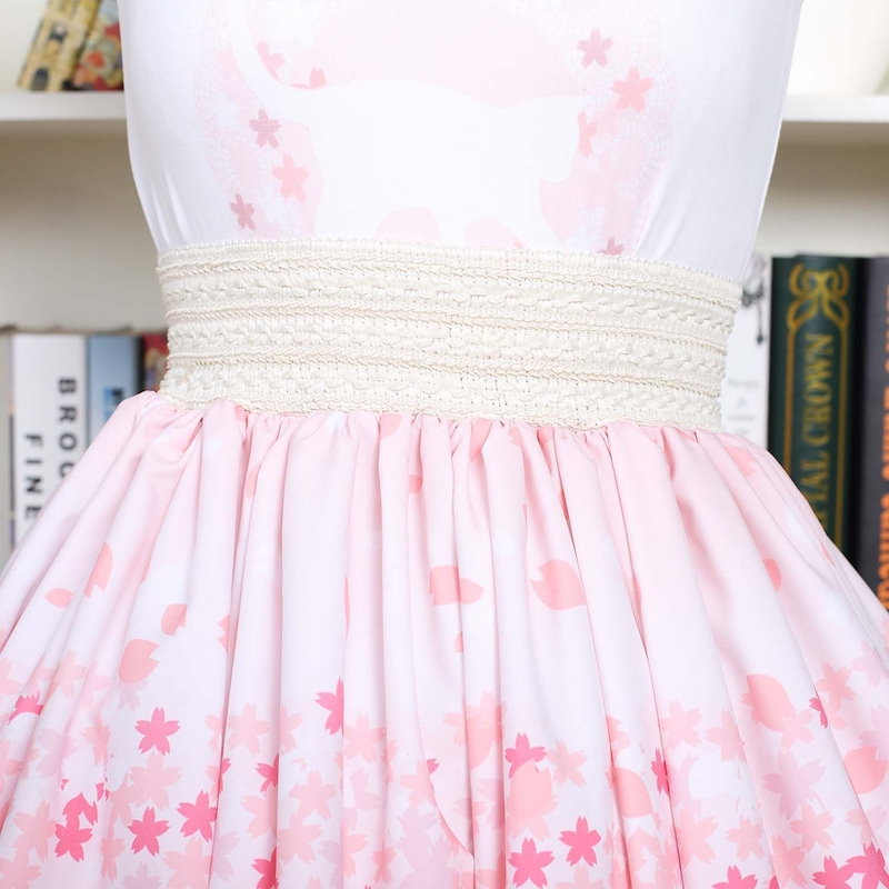 Sweet pink Pleated Lolita cherry Blossoms and cat printed SK lace trimed Kawaii Lovely Skirt