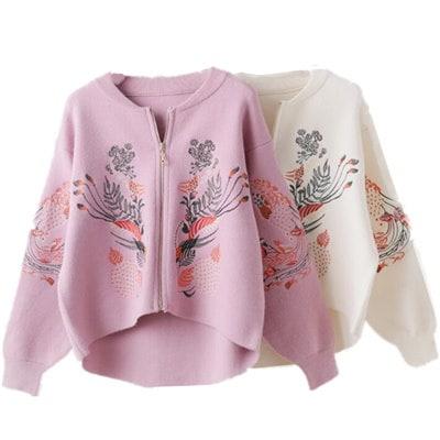 新型の民族風刺繍セーターガールコート刺繍ニット学生カーディガン 大人気の新作 可愛いセーター*優良品質 裏起毛ニットカーディガン あわせのなくオープンクロージングになって着る非常に楽/長袖カーディガン