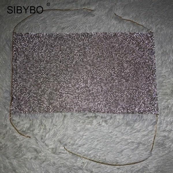 シビボウホルター手作り光沢のあるラインストーンクロップトップバックレスサマービーチシックなパーティーブラケットトリプル