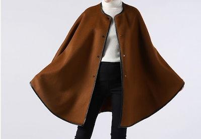 ファー袖ポンチョ風コート ウール含 アウター Aラインジャケット ポンチョ 1091