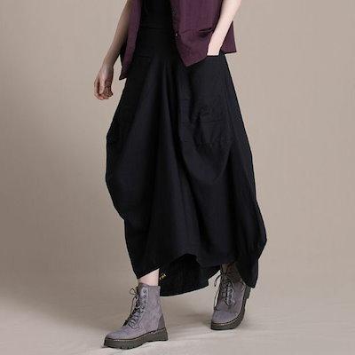アシンメトリースカート 綿 麻 コットン リネン 無地 ロングスカート ポケット ゆったり 体型カバー シンプル 着回し カジュアル レディース ボトムス 春