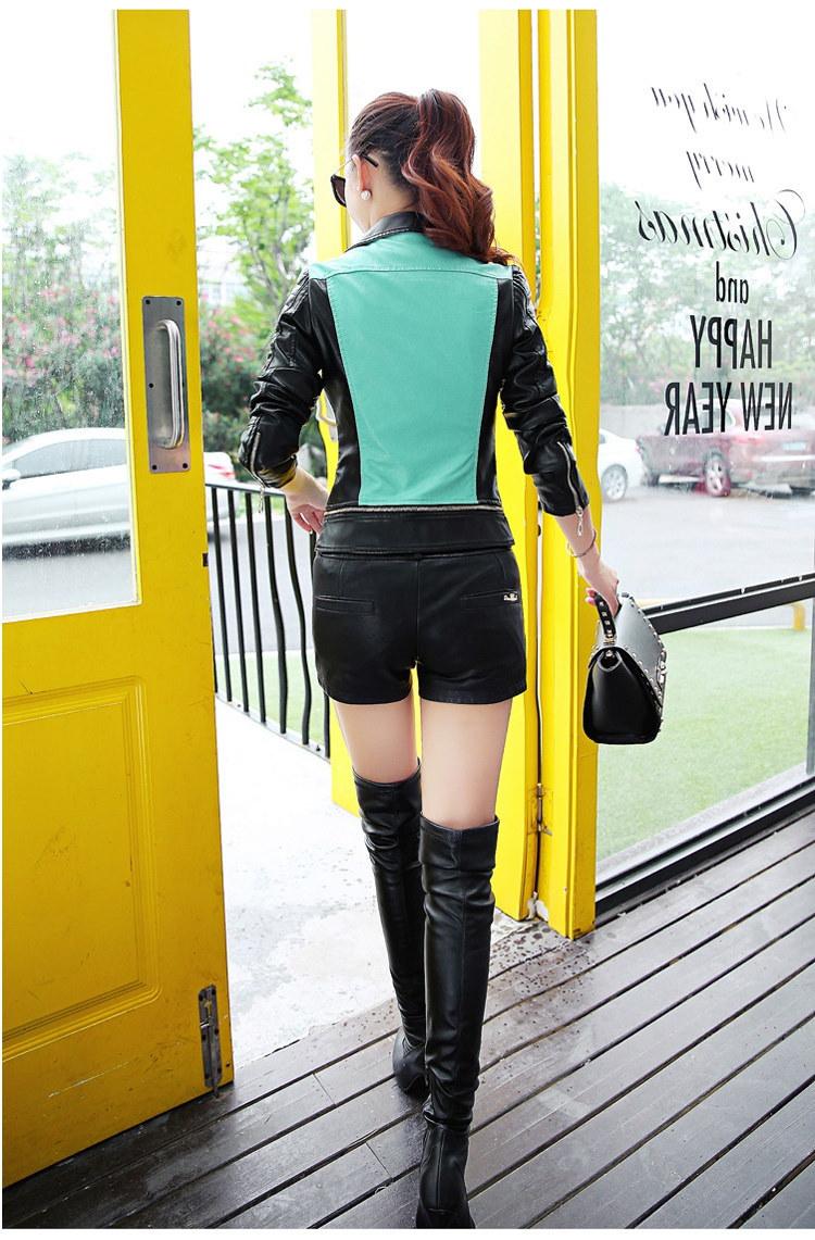 6サイズPuの女性革オートバイのジャケットパッチワークの色春秋Zipprデザイン女性PUレザーアウターウェアコートS-3XL