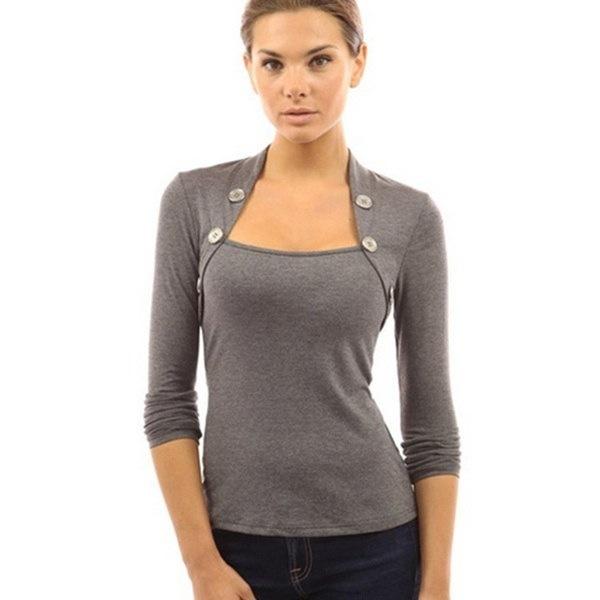Spring Autumn New Women Ladies Fashion Cotton Long Sleeve Low Cut  Blouse Tops Women T-shirt