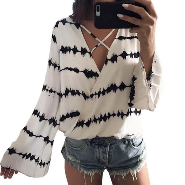 女性のファッションVネックフレアースリーブ黒と白の波状ラインロングスリーブTシャツトップス