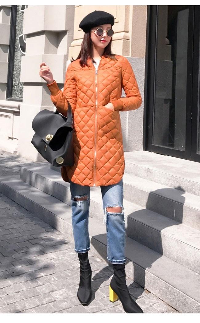 レディース服 女性 大人 冬 ダウンコート 丸首 ダウンジャケット ロング丈 無地 ファスナー カジュアル 大きいサイズ トレンドカラー