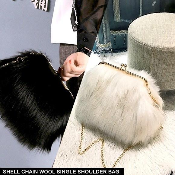ファー バッグ バック フェイクファー レディース ショルダー 斜めがけ チェーン 毛皮 エコファー カワイイ ふわふわ がま口 韓国 ファッション