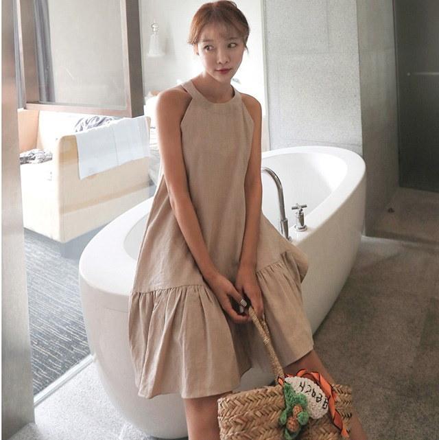 裾フリルホルターネックフレアリネンワンピースデイリールックkorea women fashion style