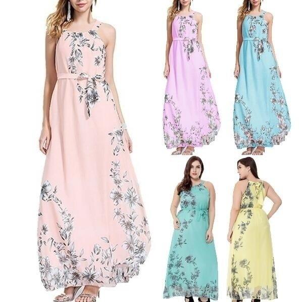 夏プラスサイズレディース女性ファッションセクシーなボホミアロングマキシドレスノースリーブビーチサンデードパーティーD